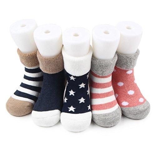 d57f1e9ff1dd0 1-3 ans Bebe Fille Garcon Chausson Chausettes Cotton Cute 5paires  Nouveau-Né anti