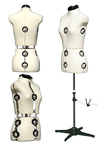 DEUBL verstellbare Profi Schneiderpuppe 'Mystique creme' Damen Torso 8-teilig, weibliche Büste komplett einstellbar mit Vierbein Standfuß (drehbar und höhenverstellbar), Schneiderbüste mit 12 Stellrädchen, plus extra Halsweite und Rückenlänge einstellbar, inkl. Nadelrockabrunder mit Stecknadelfixierung - Torso Größe. S (36-42), Farbe: Creme