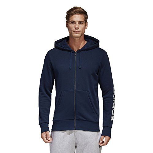 adidas Herren Essentials Linear Full-Zip Hoodie, Collegiate Navy, L Full Zip Terry Hoodie