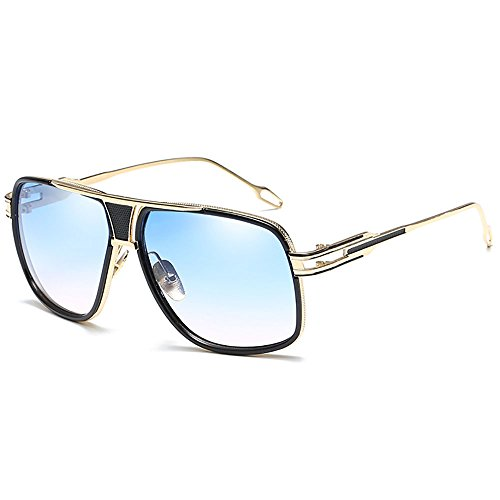 SHEEN KELLY Oversized Super Große Sonnenbrille Damen Großen Brille Square Piloten Retro Metall Rahmen für Herren Sonnenbrille Spiegel BRILLE Blau
