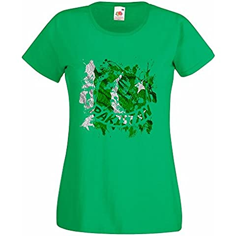 Bandiere Firmata Collezione 3, Fruit of the Loom Valueweight Lady-Fit Tee Verde Prato Donna Maglietta T-Shirt con Design Colorato. Taglia XS 36, S 38, M 40, L 42, XL 44, 2XL 46
