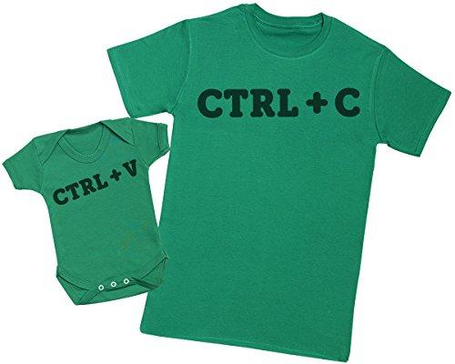 Zarlivia Clothing CTRL C and CTRL V - Passende Vater Baby Geschenkset - Herren T-Shirt & Baby Strampler/Baby Body - L & 3-6 Monate