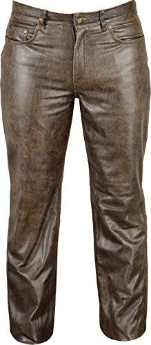 Fuente Vintage Röhren Lederhose lang Herren Damen eng- Lederjeans - Echt Leder Rind, Lederhose Jeans 501- Motorrad Lederhose Lederjeans (48 EU, Vintage Braun) -