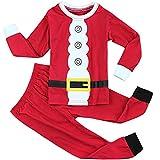 Fancyinn Chicos Chicas Conjuntos de Pijamas de Navidad Niños pequeños Reno Disfraz Manga Larga Ropa de Dormir Traje de Dormir Santa 110