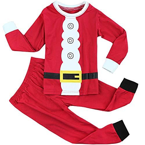 FANCYINN Ragazzi Ragazze Natale Set da Pigiama Toddler Kids Costume Renna Pjs a Maniche Lunghe Indumenti da Notte Biancheria da Notte Babbo 110