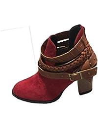 Longra Stivali da Donna Autunno Scarpe Tacco Spesso Donna Moda Scarpe da  Donna Stivali Stivaletti Anfibi da Donna Stringate Invernali Bassi… b95d463d866
