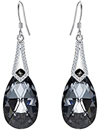 Clearine Mujer Plata esterlina 925 Elegante Boda CZ Lagrima colgantes Pendientes Adorned with Swarovski Cristals islas Bermudas