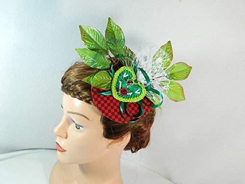 Fascinator rot gruen Damenhut Trachten Hut Dirndl Oktoberfest Haarschmuck Kopfschmuck