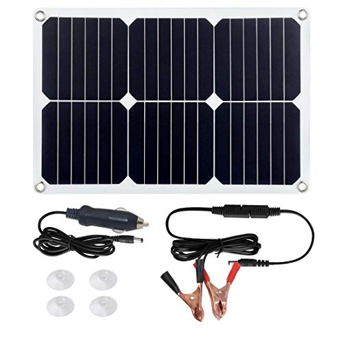 Betop-camp Tragbares Solar-Panel-Auto-Akku-Ladegerät 18 Volt 18 Watt Zigarettenanzünder Stecker, Batterie-ladeclip-Linie, Saugnäpfe, Batterie-Betreuer für Motorrad