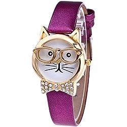 AchidistviQ - Reloj de Pulsera analógico de Cuarzo con Esfera Redonda de Gato y Diamantes de imitación, diseño de Gato
