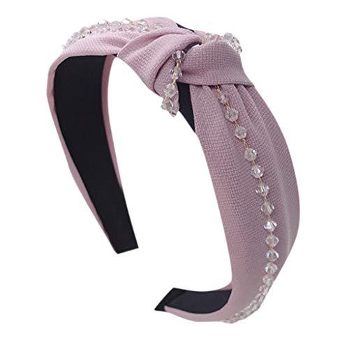 TOPGKD beliebt Frauen Kristall Stirnband Stoff Haarband Kopf wickeln Haarband ZubehörIns umsatzstark (Rosa) -