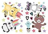 Wandtattoo Kinderzimmer Deko Pastell Indianer Tiere Tiger Panda Bär Waschbär