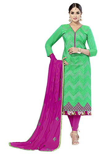 Nikki Fab Green Chanderi Embroidered Unstitched Partywear Dress Material.