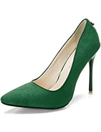 Xianshu Women ' s sexy carta de metal zapatos de tacón alto de gamuza punta de cuero zapatos de corte