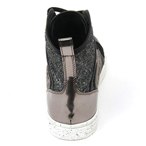 B9456 sneaker donna HOGAN REBEL R141 patchwork nero/grigio/marrone shoe woman Nero/Grigio