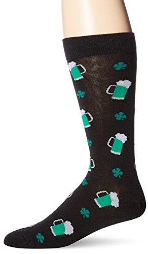 K-Bell Socks Herren Socken Biersöckchen St. Patrick's Day Hose, Größe L, Schwarz (St Patrick Tag-socken)