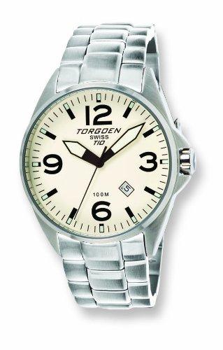Torgoen - T10206 - Montre Homme - Quartz Analogique - Cadran Beige - Bracelet Acier Argent