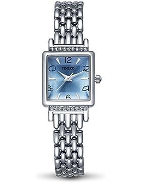 TIME100 Damen-Armbanduhr Diamant Square Analog Quarz Edelstahl Blau#W50188L.05AN
