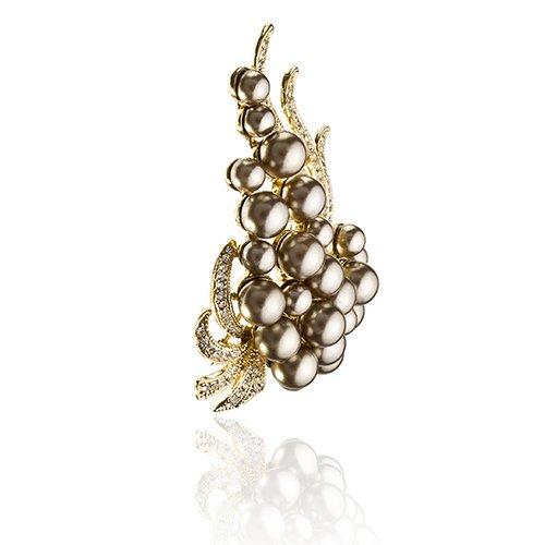 Vintage paisley Perle spilla con Swarovski e perle a grappolo con cristalli trasparenti, Janeo Jewels, moca, colore: Clear/Grey/Off-White, cod.