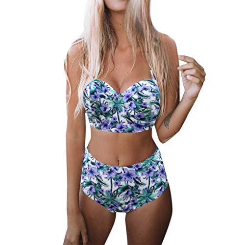 Preisvergleich Produktbild Bikini Damen Set Neckholder Badeanzug mit High Waist Retro Vintage Stil Bademode mit Hoher Taille Schwimmanzug Bikini Set Zweiteiler Geteilter Swimsuit Strandmode Badebekleidung