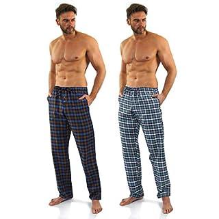 Sesto Senso® Herren Schlafanzughose Kariert Pyjamahose Lang 100% Baumwolle 1er oder 2er Pack Pyjama Nachtwäsche (XXL, 2+5)