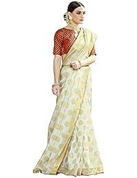 Naari Vastram Women's Cotton Silk Jacquard Blend Printed Saree With Blouse Piece (Off White N-103)