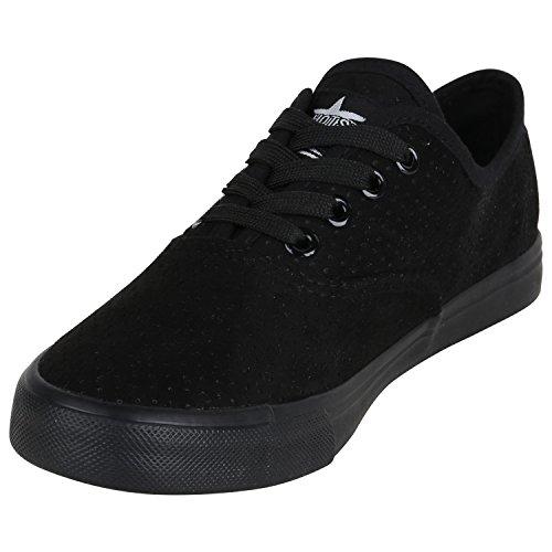 Damen Sneakers Stoff Sneaker Low Muster Basic Schuhe Animal Print Freizeit Turnschuhe Schnürer Flandell Schwarz Brooklyn