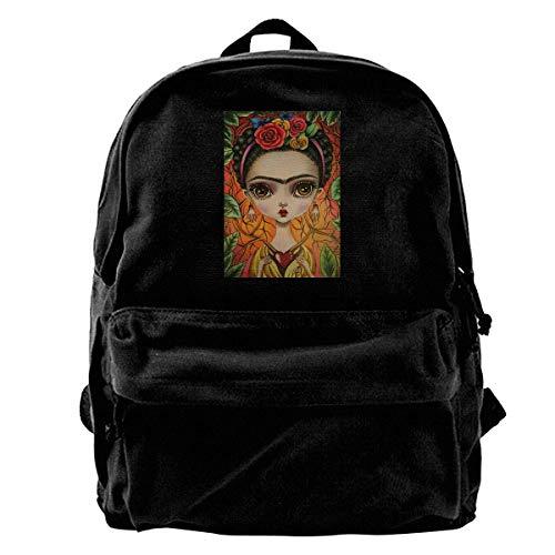 NJIASGFUI Mochila de lona Frida Kahlo para gimnasio, senderismo, portátil, para hombres y mujeres