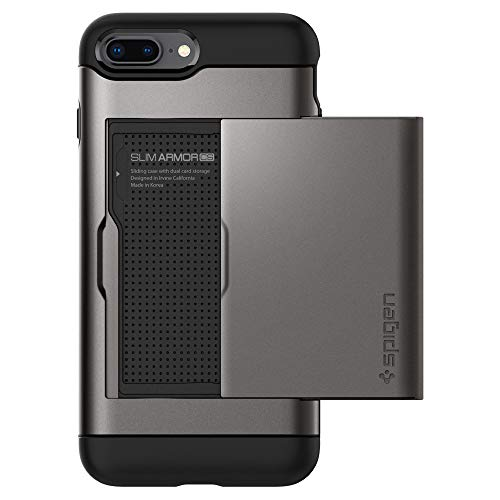 iPhone 8 PLUS / 7 PLUS Hülle, Spigen® [Slim Armor CS] iPhone 8 PLUS Hülle, Kartenfach [Gunmetal] Doppelte Schutzschicht mit Luftpolster-Kantenschutz - Card Holder Case Schutzhülle für Apple iPhone 7 PLUS Hülle / iPhone 8 PLUS Case Cover - Gunmetal (043CS20526) Plus Case Cover
