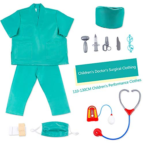 Kids Doctor Dress Up Chirurg Kostüm Set Mädchen Jungen Chirurgische Peelings Chirurg Rollenspiel Dressup Set Lust auf Cosplay Grün 7-8 Jahre (Lust Kinder Kostüm)