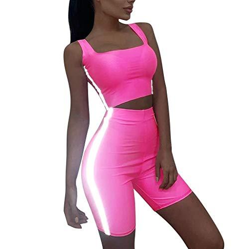 Sexy Suit Donna,Sasstaids❀ Tuta Sportiva,Pantaloncini da Yoga Avvolgenti per Donna Tuta da Corsa per Sport Fluorescente a Colori Fluorescenti,Pantaloncini + Gilet Rosa S
