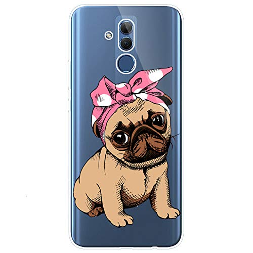 Felfy Kompatibel mit Huawei Mate 20 Lite Hüllen Silikon Transparent Case Ultra Dünn Gel TPU Handy Hüllen mit Mandala Blume Hund Katze Panda Bunt Muster Schutzhülle Handyhülle Stoßfest Hüllen Case -