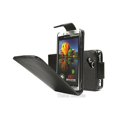 Sony Ericsson Xperia Arc S / Arc X12 Etui en Cuir - Housse Etui Flip Pu Cuir Noir Pour Le Sony Ericsson Xperia Arc S / Arc X12 - thinkmobile