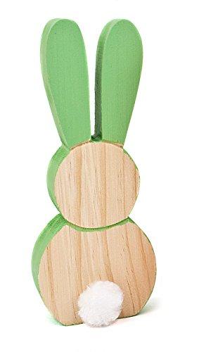 Deko Figur Osterhase Hase Silhouette aus Holz mint grün, 18cm, Osterdeko Frühlingsdeko Osterfigur Häschen für Frühling Ostern