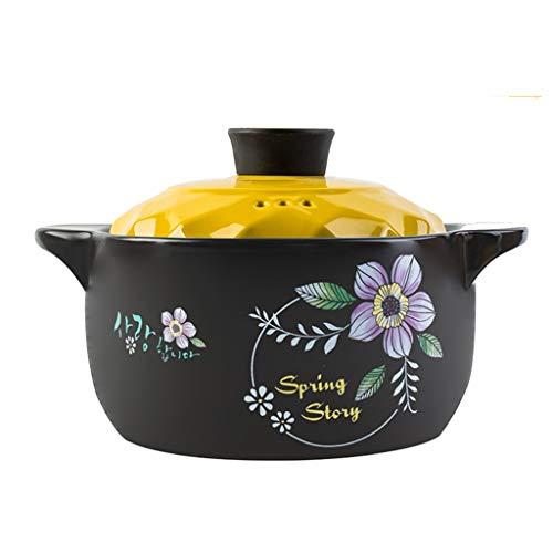 Gyl Gesundheits-Suppe-Eintopf-Topf der Kasserolle-Hochtemperatur-keramische kleine Kasserolle-Brei-Feuer-Gas-Haus mit Deckel-Topf (Color : Yellow, Size : 25CM*15.3CM)