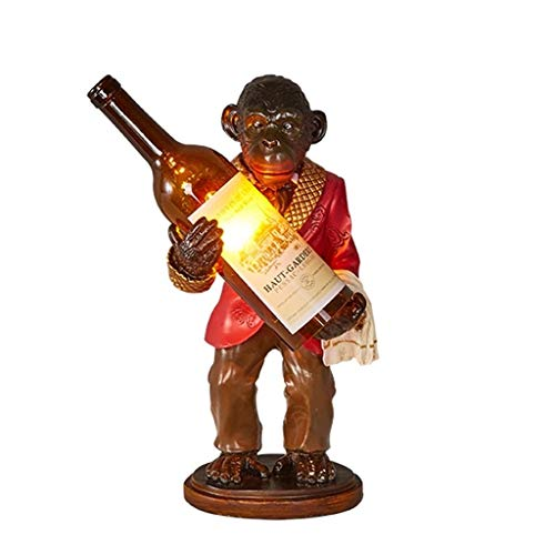 MYXMY Industrielle Kreative Orang-Utans Tischlampe Persönlichkeiten AFFE Schreibtisch Lichter Harz Handwerk Kunst Weinflasche Studien Bars Schlafzimmer Vintage Lampen Mode Einfache Desktop Licht E27 (Und Handwerk Affen-kunst)