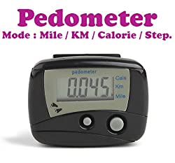 Gadget Hero's Digital II LCD Pedometer Step Calories Counter. Walking Distance With Belt Clip