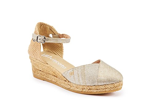 VISCATA Pubol Ankle-Strap, Closed Toe, Classic Espadrilles with 2-inch Heel Made in Spain silver