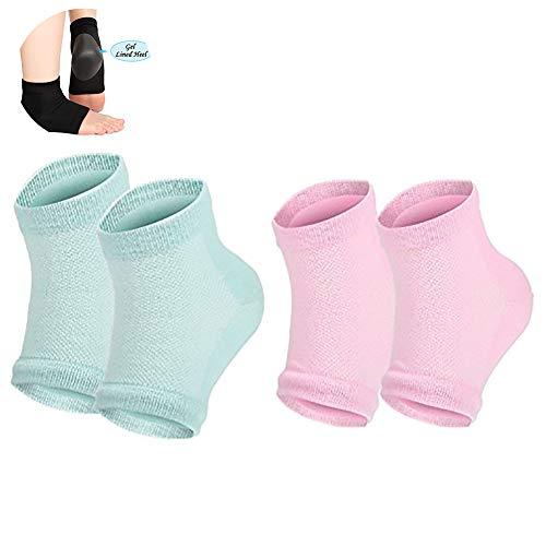 NiceButy 2 Paar Feuchtigkeitsgel Ferse Socken offene Zehensocken trocken hart Bruch mit hohen Absätzen Fußpflege Gel Ferse Set (grün und pink) Körperpflege -