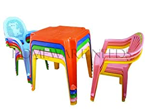 childrens kids plastic table and chair set includes 4 chairs choose your colour. Black Bedroom Furniture Sets. Home Design Ideas