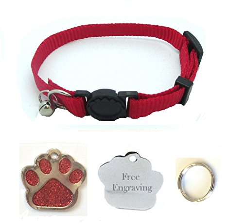 Cat Collar, With Bell, Quick Release With Free Engraved Glitter Paw ID Tag & P&P (Red)