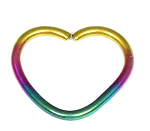 Steel Continuous Heart Ring for Helix, Daith, Rim Piercings. 1.0mm gauge. Internal Diameter 12mm. Rainbow colour.