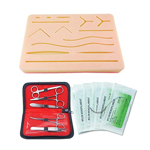 HSDCK Nahtübungskit, wiederverwendbares Silikon-Nahtpad für das Nahttraining, dauerhaftes, von Schülern zu verwendendes Nahtpad, Naht-Kit wiederverwendbar -