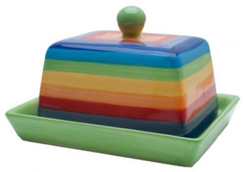 Rainbow Stripe Beurrier avec couvercle en céramique – 16 cm