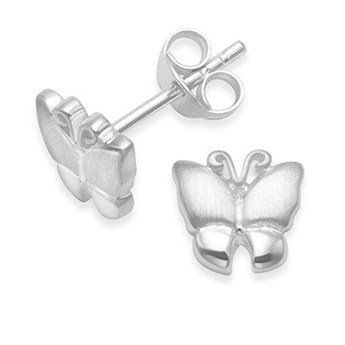 Sterling Silber Schmetterling Ohrringe, Teil satin finish-Größe: 7mm x 7mm-massiv Silber in Geschenkverpackung. 5258/b41hn. -