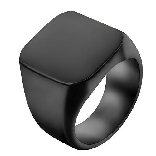 JewelryWe Schmuck Biker Edelstahl Herren-Ring, Glänzend Poliert Siegelring Quadrat Band Ring, Schwarz Größe 59 - mit Geschenk Tüte
