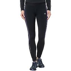Ultrasport Pantalones largos de correr para mujer, con efecto de compresión y función de secado rápido, Negro/Morado, M