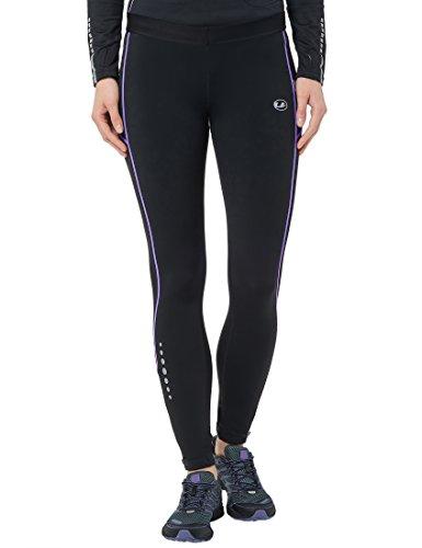 Ultrasport Panta jogging lunghi per donna con effetto compressivo e funzione Quick Dry, Nero/Viola Opulenza, XS