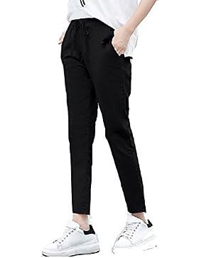 SYGoodBUY Pantalones Cortos de los Tamaños Grandes de los Pantalones del Verano de Las Mujeres Pantalones Flacos...