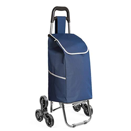 JHome-Einkaufstrolleys Leichte 2,5 kg Treppe Klettern Faltbare Shopping Lebensmittel Trolley Bag mit 6 Rädern Faltbare Stahlrahmen Wäscheservice Utility Warenkorb in Dunkelblau